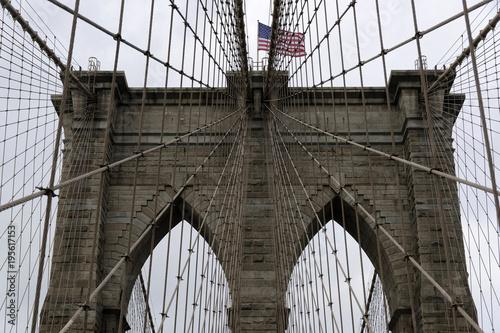 Seilkonstruktion der Brooklyn Bridge am East River, Manhattan, New York City, USA, Nordamerika