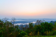 Sunrise Of Doi Samer Dao In Sri Nan National Park , Nan Province Of Thailand