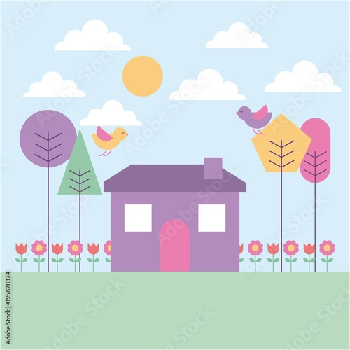 Tuinposter Lichtblauw landscape spring house tree birds flowers pastel color vector illustration