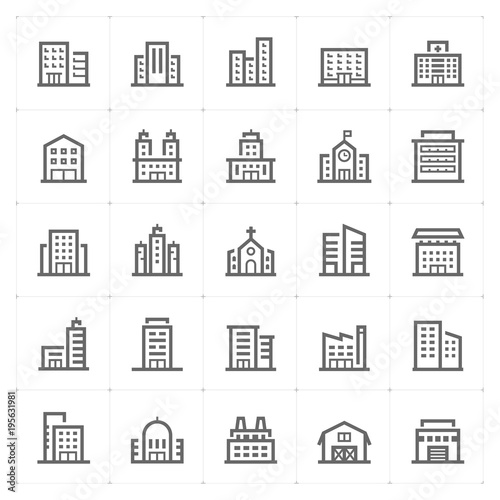 Mini Icon set – Building icon vector illustration Wall mural