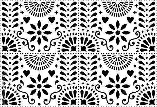 Fotografija  Folk art vector seamless pattern, Mexican black and white design with flowers in