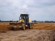 Grader Adjust Elevation Level Soil For Construction Site