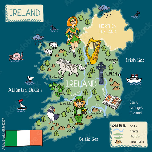cartoon map of Ireland Canvas Print