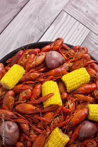 Boiled Crawfish on a Black Tray