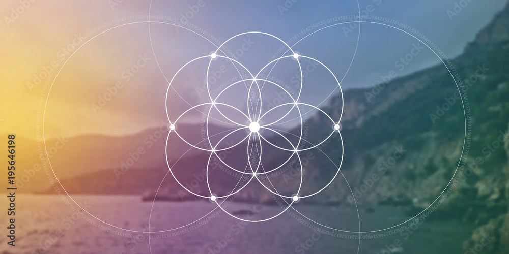 Fototapeta Sacred geometry flower of life website banner with golden ratio numbers, interlocking circles and particles in front of nature background. The formula of nature.