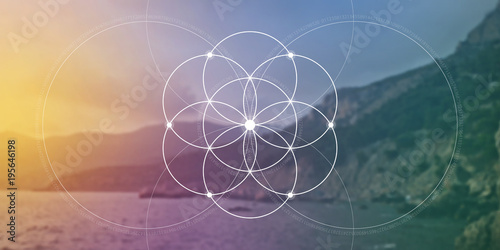 Sacred geometry flower of life website banner with golden ratio numbers, interlocking circles and particles in front of nature background. The formula of nature.