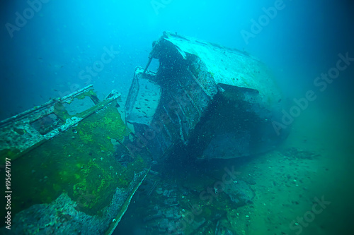 Photo Stands Shipwreck shipwreck, diving on a sunken ship, underwater landscape