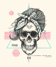 Women's Skeleton Skull In Woodcut Style With Fashionable Hairstyle Wearing Cool Scarf Against Hipster Abstract Background. Vector Illustration Can Be Used As T-shirt Print, Poster, Postcard Etc.