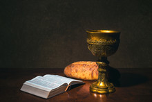 Goblet With Wine Bread And Hol...