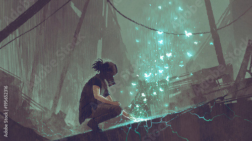 apocalypse concept of the man with a gas mask creating fairy light butterflies with magic, digital art style, illustration painting
