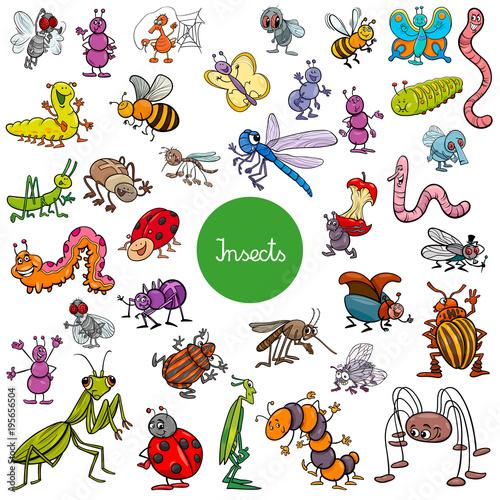 Photo cartoon insects animal characters big set