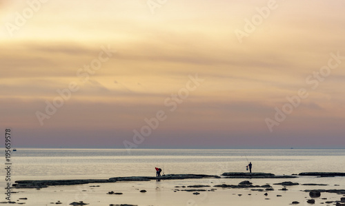 A man fishing at the sunset in Tripoli Lebanon 5 february 2018