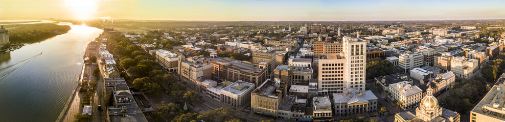 180 degree aerial panorama of Savannah, Georgia.