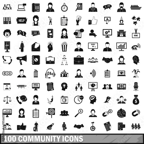 Poster  100 community icons set, simple style