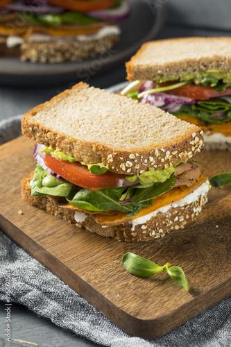 Staande foto Snack Healthy Homemade Vegetarian Veggie Sandwich