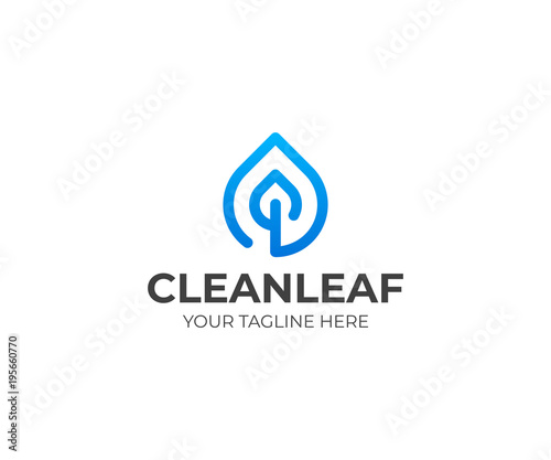 Drop And Leaf Line Logo Template Water Droplet And Leaves Vector