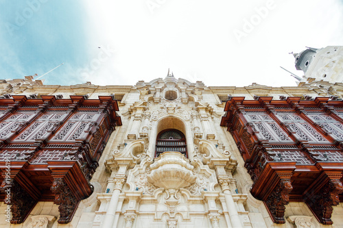Photo Carved wooden balconies of the archbishopric of Lima, Peru