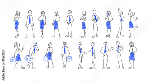 Fotografia  Collection of stick figures of businesspeople in different poses and situation