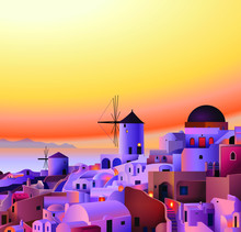 Vector Greece Island Summer Sunset Landscape