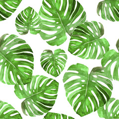 Panel Szklany Podświetlane Vintage Tropical green palm leaf pattern set watercolor illustrated