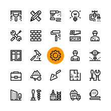 Construction, Tools Line Icons...