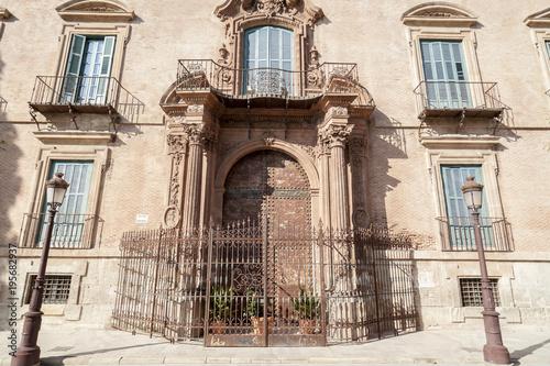 Historic building,palace,palacio episcopal,baroque-rococo style,door entrance square glorieta,Murcia,Spain.
