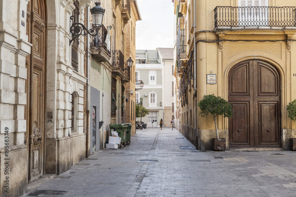 Ancient street view, historic center of Valencia, Spain.