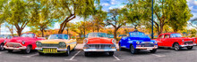 Colorful Group Of Classic Cars...