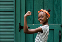 An African American Tween Girl Being Strong