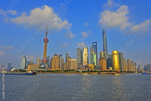 Shanghai world financial center skyscrapers in lujiazui group Poster