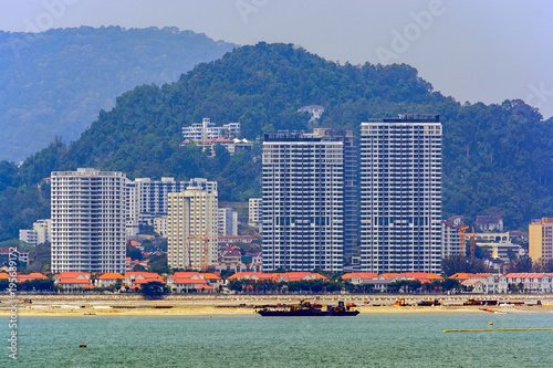 Land reclamation on George Town shore, Penang, Malaysia