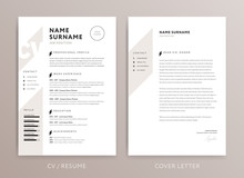 Stylish CV Design - Curriculum Vitae Cover Letter Template - Rose Brown Color - Vector Template