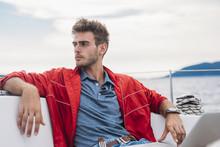 Portrait Of A Men On A Sailing Boat
