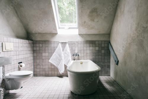 Shabby Chic White Bathroom With Ceramic Retro Bathtub Buy