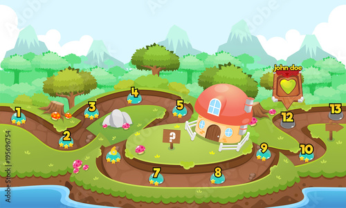 Tuinposter Pistache Green Valley Game Level Map