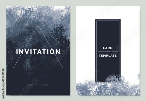 Invitation card template design, blue palm leaves with white square border frame