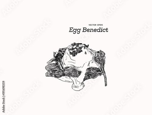 Photo Egg benedict with spinach, hand draw sketch vector.