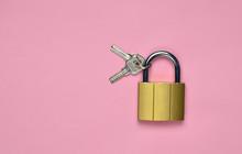 Golden Closed Lock With Keys O...