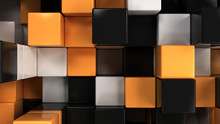 Wall Of White, Black And Orange Cubes