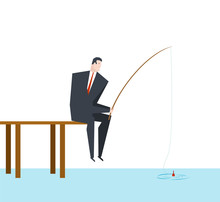 Businessman Is Fishing. Boss Is Sitting With Fishing Rod  On Dock. Office Life Vector Illustration.