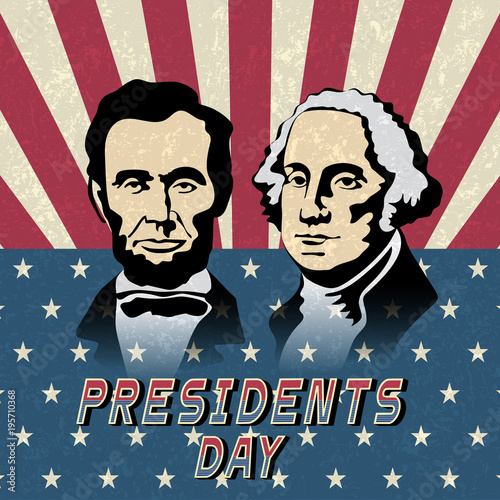 Happy Presidents Day, Abraham Lincoln and George Washington Fotomurales