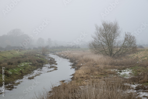 Papiers peints Cappuccino Cold misty Winter landscape over stream in English countryside