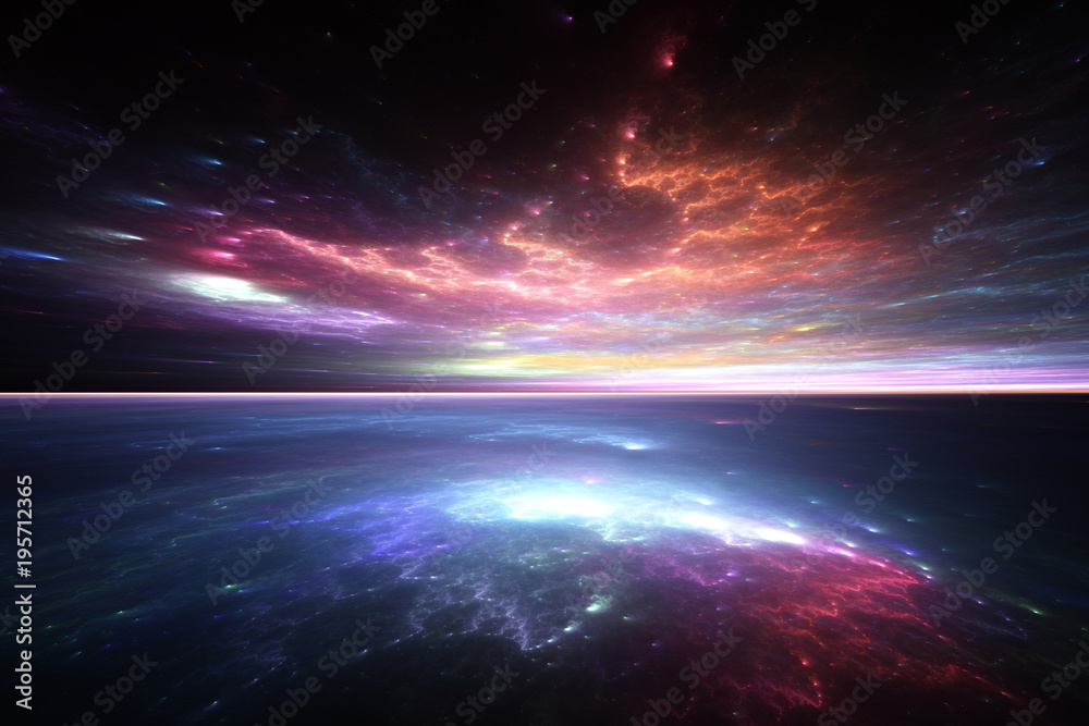 Fototapety, obrazy: Fractal horizon, abstract render of alien sea and sky