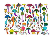 Fantastic Mushrooms Set, Sketch For Your Design