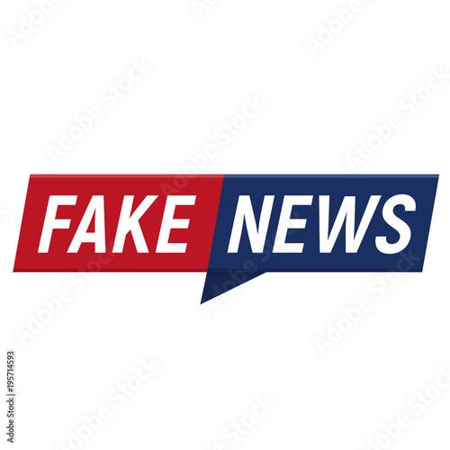 Fake news minimalistic logo on white background Canvas Print