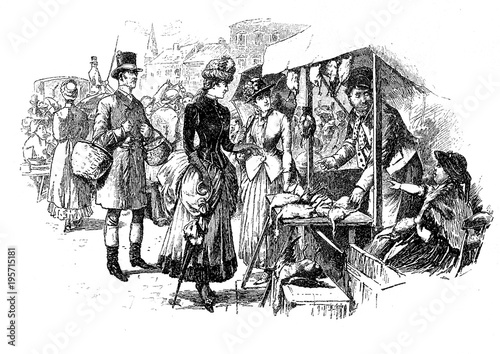 Photographie  Lady goes shopping at market and negotiates a bargain,vintage caricature and fun