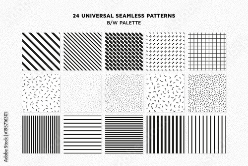 Poster Artificiel Universal vector seamless patterns set of simple elements