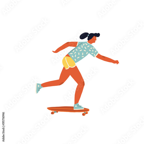 Girl skateboarder ride a skateboard poster with inspirational text quote in vector