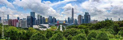 High resolution wide panorama of  skyline of Shenzhen, china Wallpaper Mural