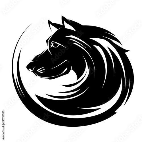 Fotobehang Draw Dog profile portrait illustartion tribal tattoo art